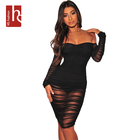 HS Fashion Women Sexy Club Party Summer Night Backless Bodycon Solid Slim Mesh Pleat See-through Black Dress