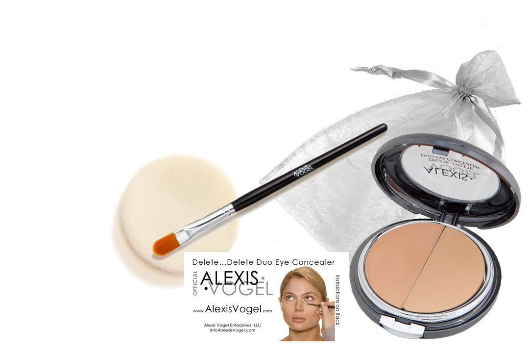 Best Complete 2 Step Skin Care Concealer Makeup Kit - Alexis Vogel Delete Delete Kit - Includes Delete Delete Under Eye Concealer Duo Compact with Angel Puff and Concealer Brush - Available in 3 Shades - Conceals Acne, Dark Circles, Bags Under Eyes, Wrinkles, Crows Feet, and Other Skin Blemishes -