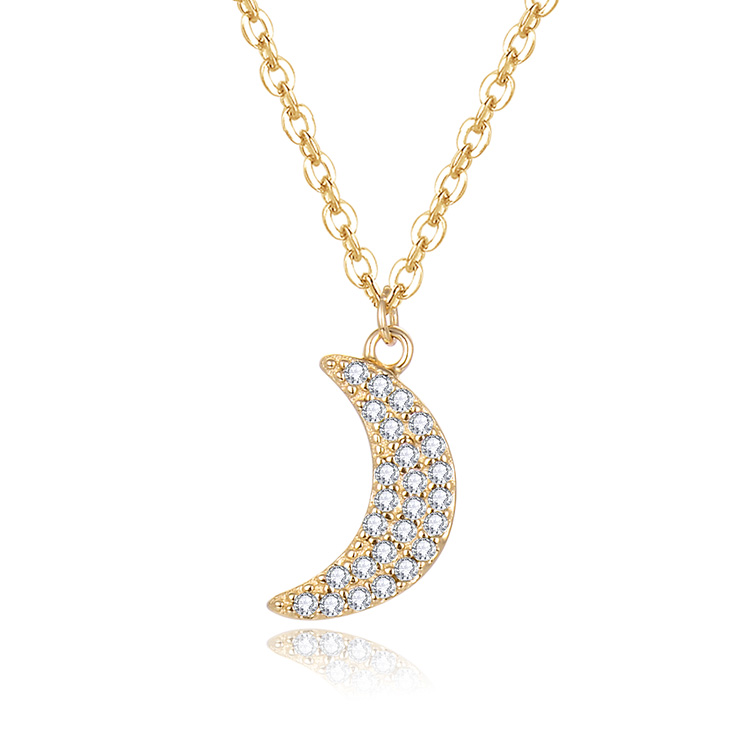 POLIVA Luxury 925 Sterling Silver Zircon Crystal Jewelry Necklaces Wholesale Fashion Moon Necklace