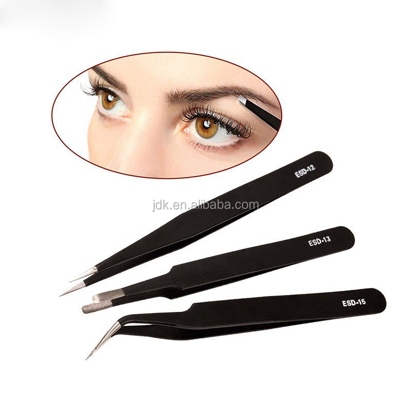 2017 hot Stainless Steel Eyebrow Tweezers black head Manicure eye brow Tweezers factory price eyebrow curler tweezer
