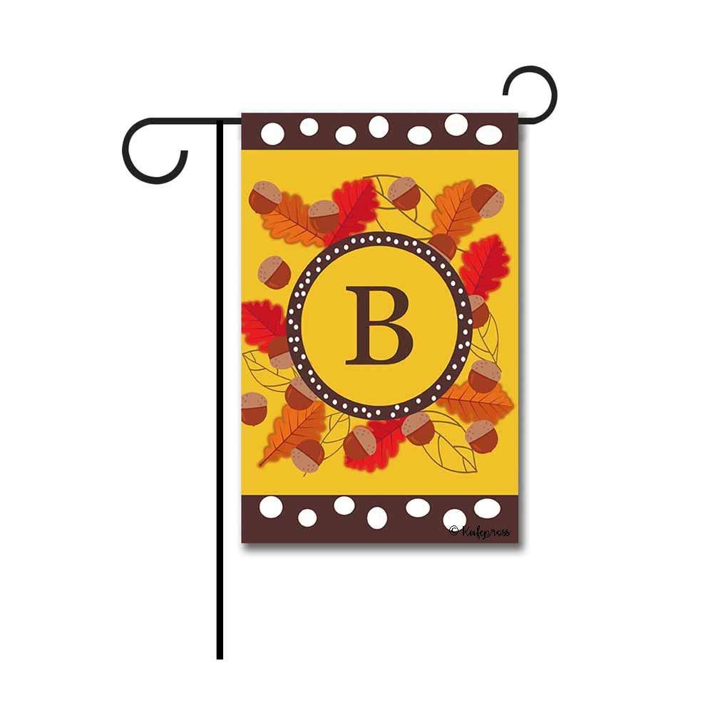 """Kafepross Welcome Fall Tree Leaves Monogram B Garden Flag Letter Initial Autumn Leaf Decor Banenr for Outside 12.5""""X18"""" Print Both Sides"""
