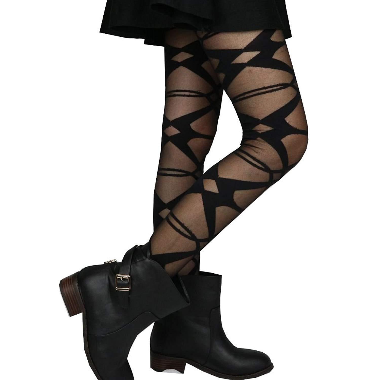 b86d68198053d Get Quotations · Women Lady Clown Diamond Eye Argyle Pattern Pantyhose  Tights, Black, One Size