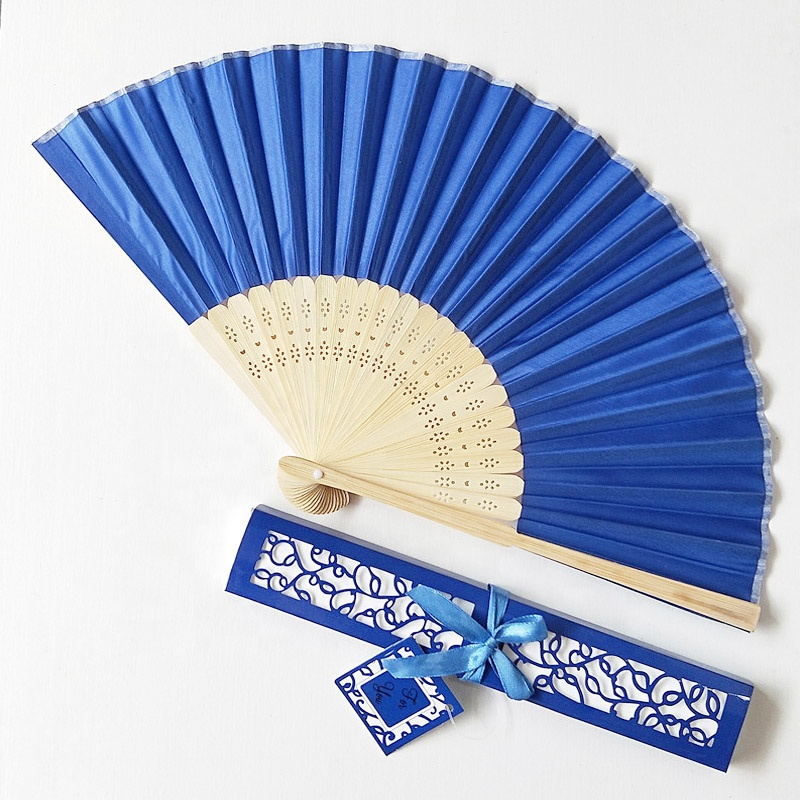 Wholesale Mix Color Personalized Printing Logo On Ribs Bamboo WeddingHand Silk <strong>Wedding</strong> Fans+Gift Box