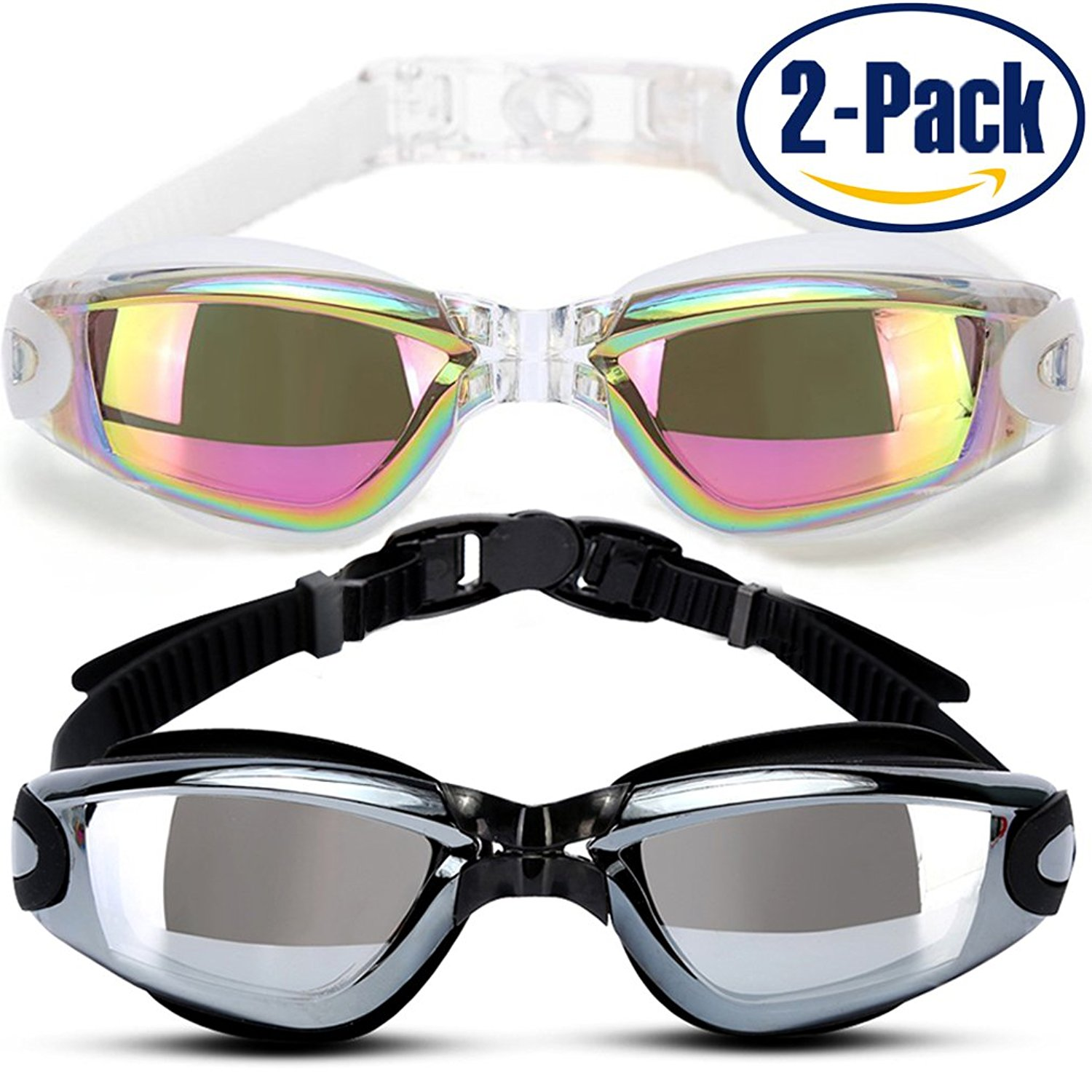 SPOLLK Swim Goggles,Pack Of 2,Swimming Goggles,No Leaking Anti Fog Water Goggles,Prevent Mist, UV Protection,Eye Protect For Swimming Adult Youth Men Women Black White by