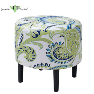 Jennifer Taylor upholstered indian stool knitted round fabric ottoman shoes changing scoop chair foot stool home furniture