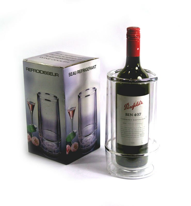 Plastic Double Layer Wine Ice Bucket/Cooler/Holder