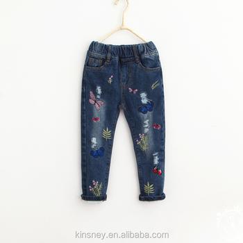 Ks10466g 2016 New Pattern Fancy Kids Girls Jeans Pants Embroidery