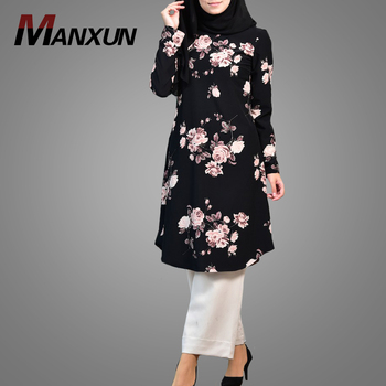 Newest Turkish Arab Women Clothing Elegant Long Sleeve Muslim Tops Blouse Modest Fashion Dubai Fancy Dresses