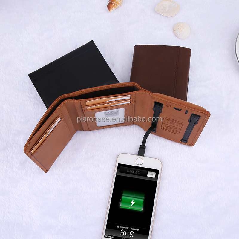PU Leather Card Holder Power Bank Wallet with Charging Cable