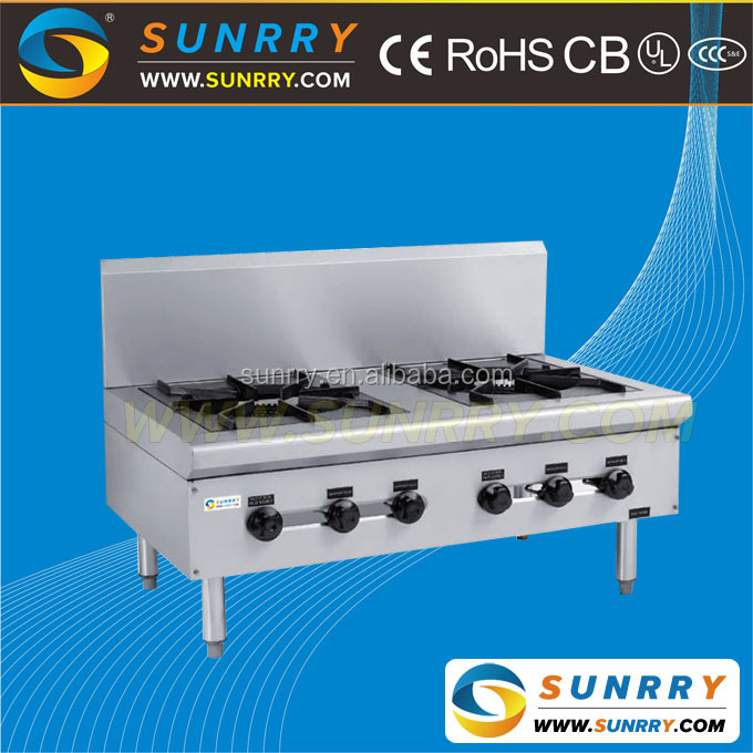 Best-Selling Induction Cooker 2 Big gas burner propane Gas stove With Backsplash Made Of Stainless Steel (SUNRRY SY-GB2TB)