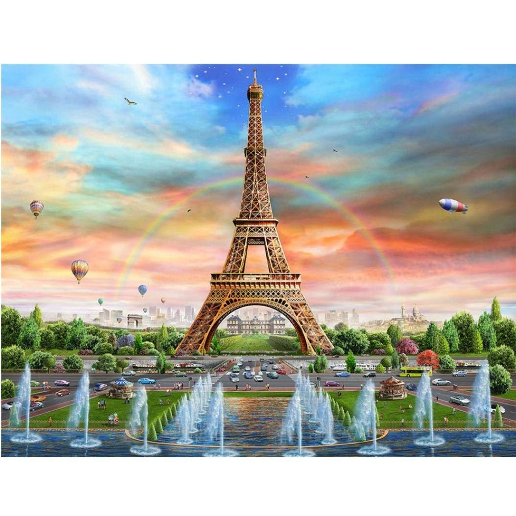 Home Decor Full Drill Eiffel Tower, Franterd 5D DIY Diamond Painting Kits By Number Counted Cross Stitch Rhinestone Embroidery Arts Craft Decor