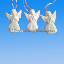 Glazed Ceramic Unpainted Cute White Angel Ornaments for Home Decor