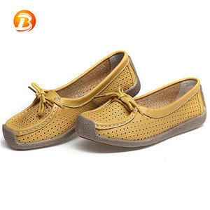 Creative design summer breathable holes ladies casual flat leather shoes