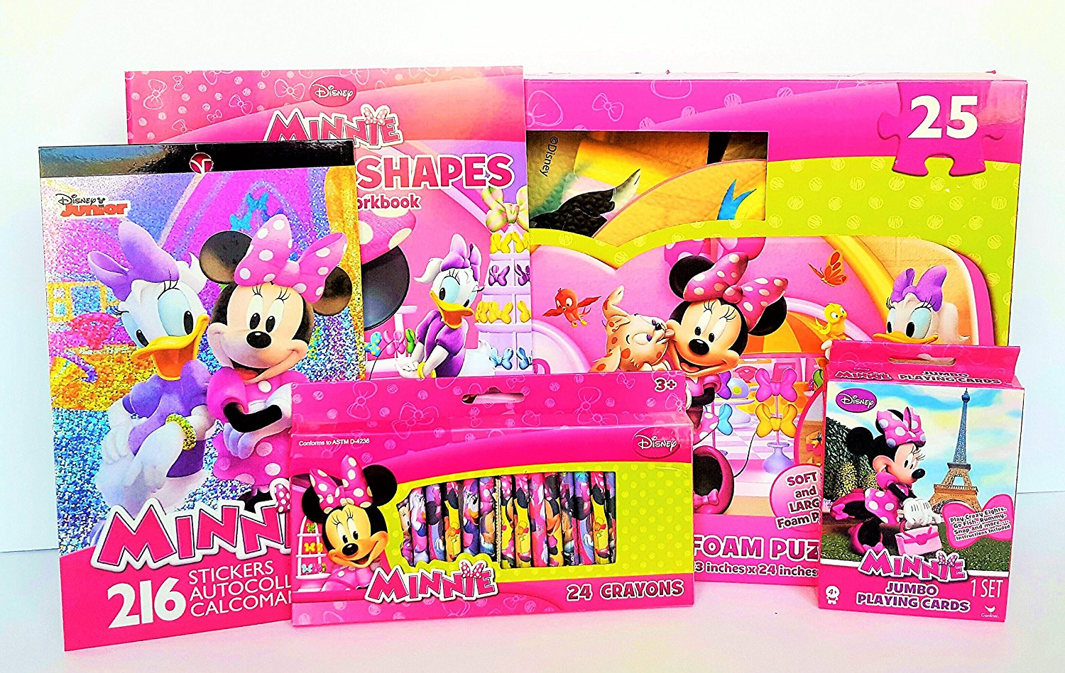 Deluxe Disney Minnie Mouse Educational & Fun Gift Bundle With Minnie Mouse Foam Floor Puzzle!
