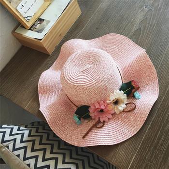 9db744e3a8a9a Classic18cm Super Big Brim Hat with Tie Natural Straw Flat Top Beach Sun Hat