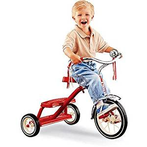 Radio Flyer Classic Red Dual-Deck Tricycle, Real Rubber Tires and Durable Steel-Spoked Wheels
