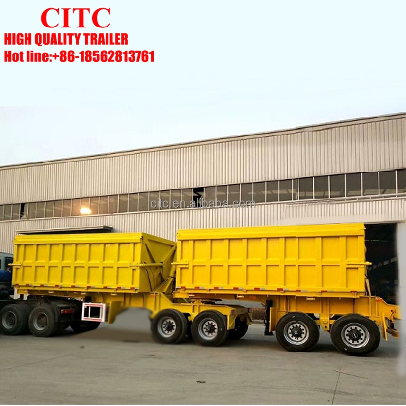 Hydraulic tipping Double Box Dumper Equipement Grains Transporter Semi Trailer