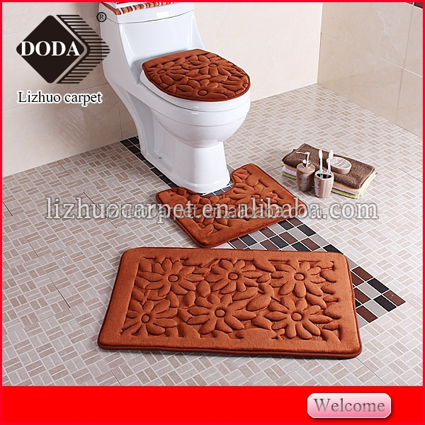 3PCS luxury plush soft sponge printed bathroom mat