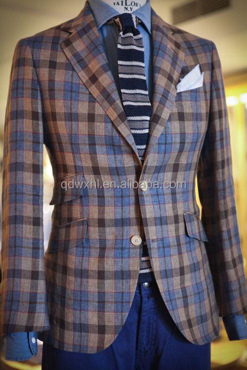 2015 Slim Fit 100% Wool Tweed Blazer For Man Grid Business Suit ...