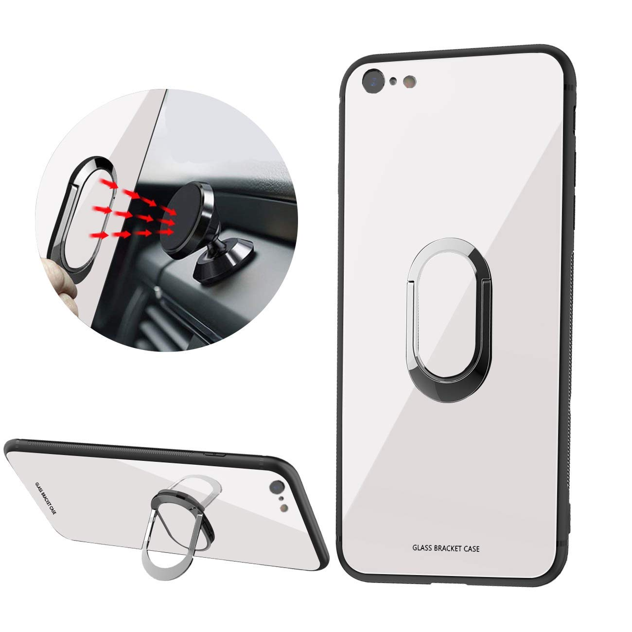 Newseego Compatible iPhone 7 Case,iPhone 8 Case,Tempered Glass Hard Back Cover Anti-Scratches Soft TPU Bumper Case with 360 Rotating Magnet Finger Ring Holder for iPhone 7/8 -White