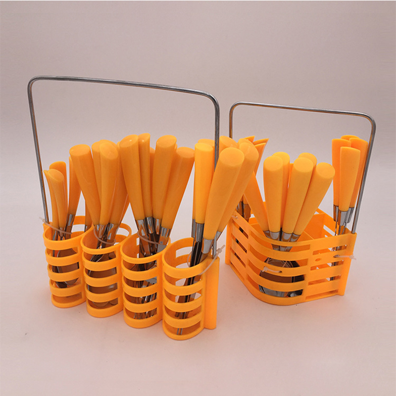 Stainless steel Cutlery Set Plastic Handle 24 Pcs With Rack