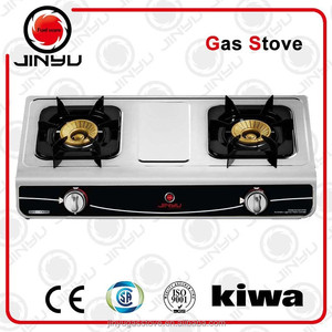 HOT 2 burners gas stove with brass cover JY-647