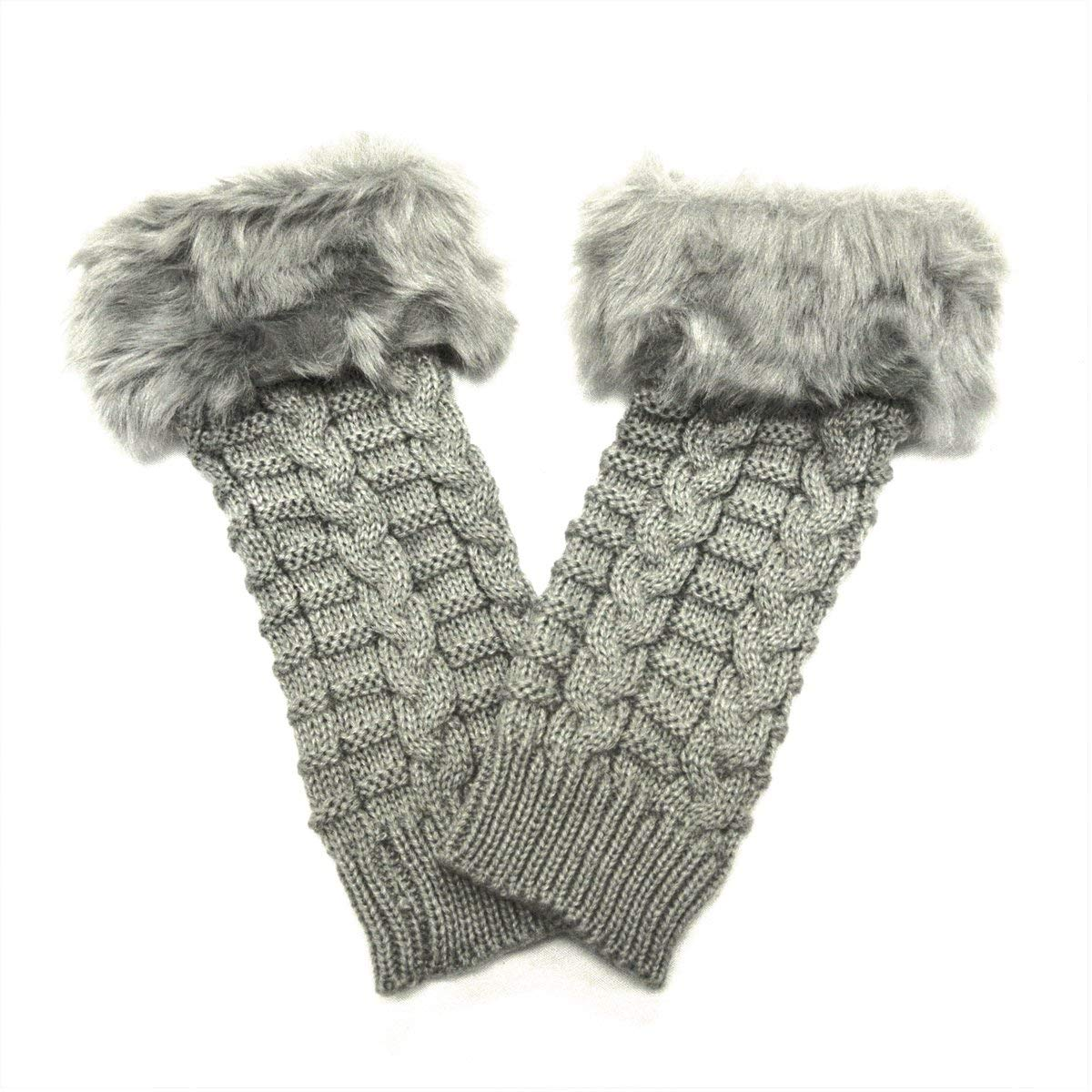 17ded516d20 Get Quotations · Wrapables Fingerless Gloves with Faux Fur Trim - Gray