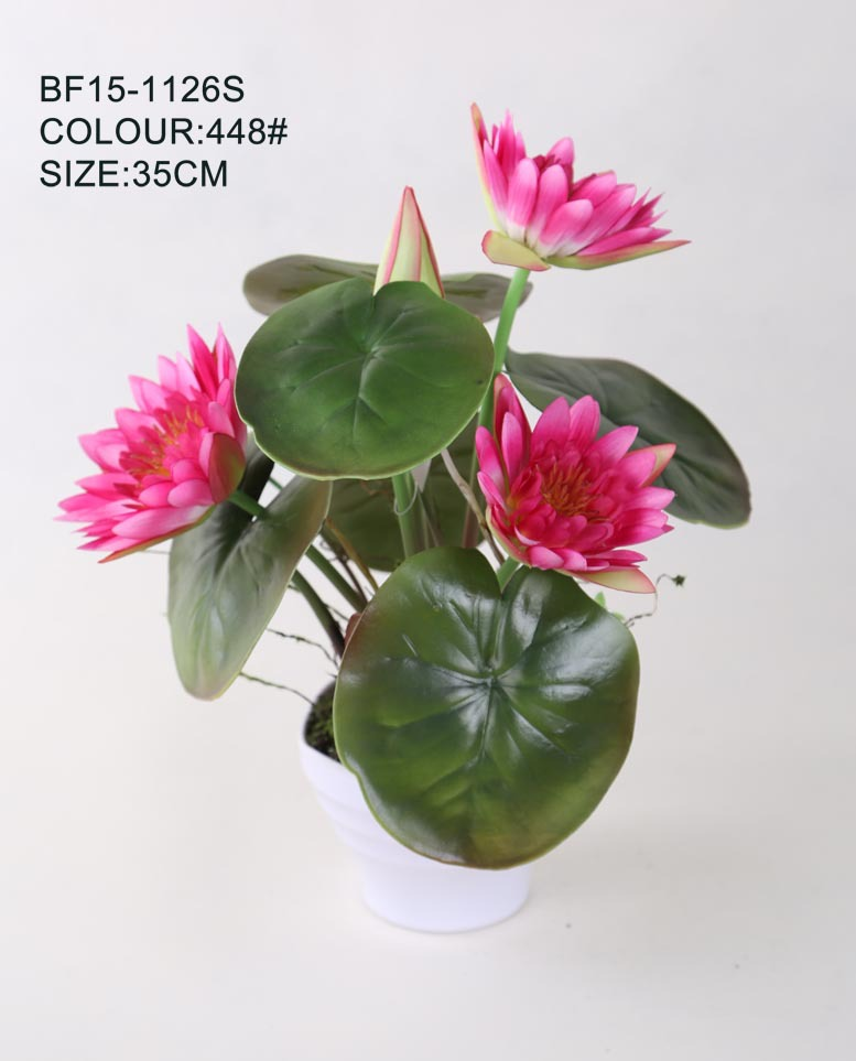 High Quality Satin Fabric Lotus Artificial Flower Real Touch