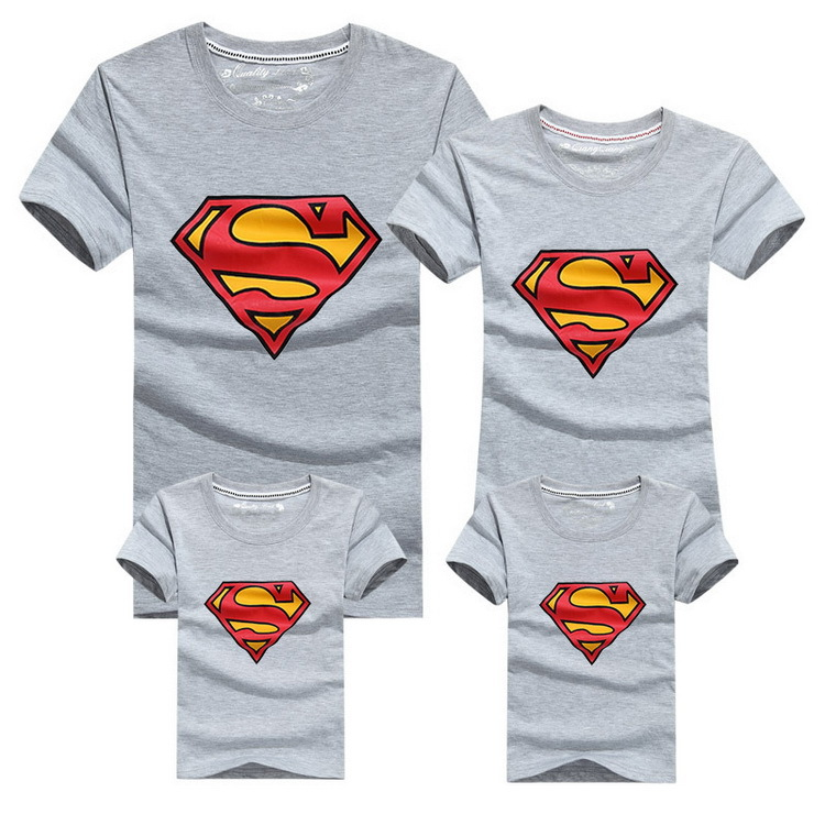 Семья взгляд супермен рубашки 9 цветов лето семья соответствующие одежда отец и мать и дети комикс наряды, Hc315