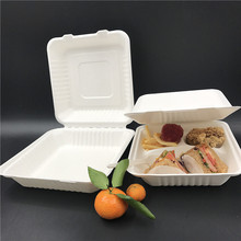 2019 Eco durable d'emballage alimentaire bagasse jetable boîte <span class=keywords><strong>à</strong></span> <span class=keywords><strong>pizza</strong></span> 8 pouces de canne <span class=keywords><strong>à</strong></span> sucre biodégradable boîte <span class=keywords><strong>à</strong></span> emporter avec compartiments
