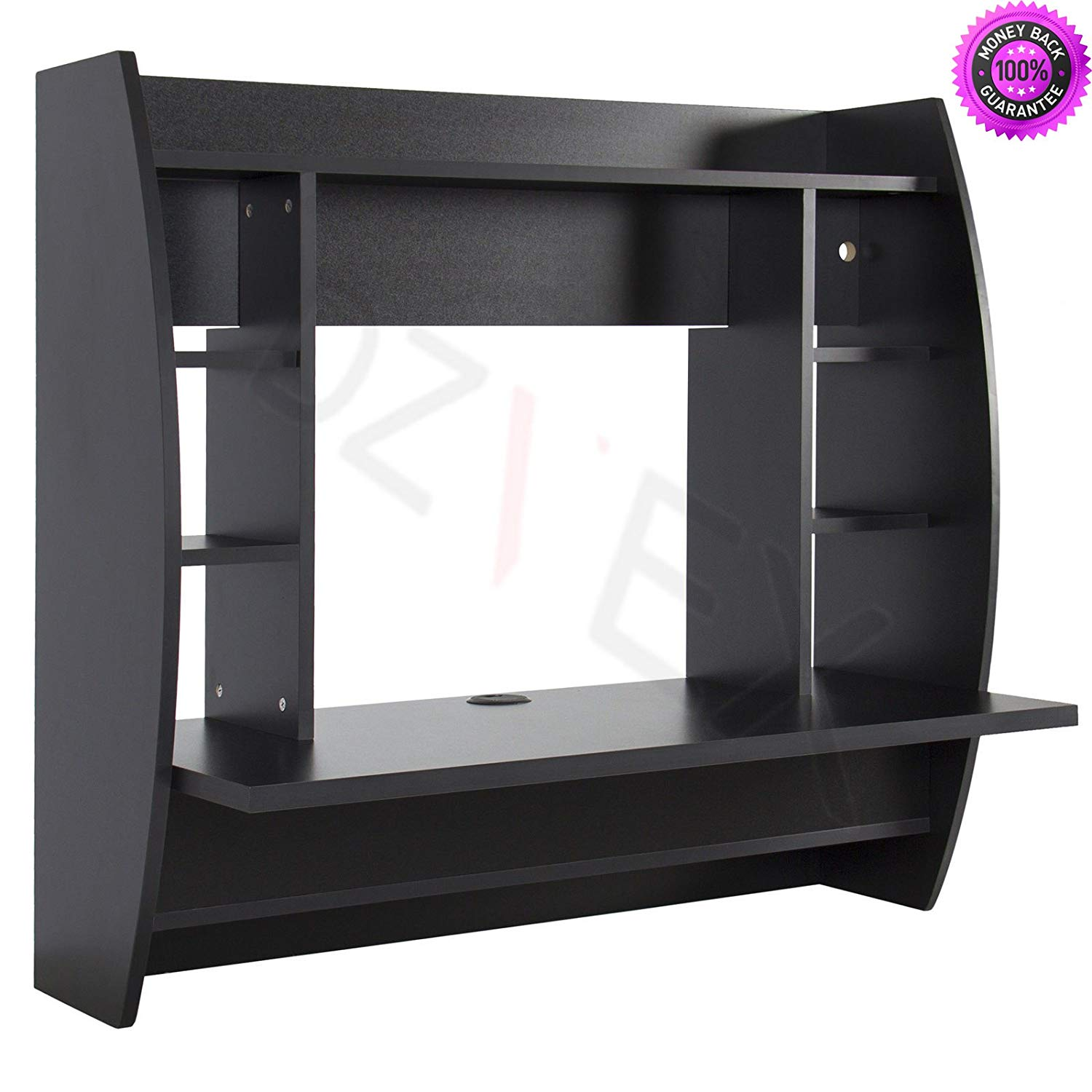 DzVeX__Wall Mount Floating Computer Desk With Storage Shelves Home Work Station- Black And folding tables accent tables furniture furniture tables wood tables small tables plastic tables