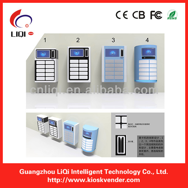 Cell phone charging kiosk with electronic lock by barcode