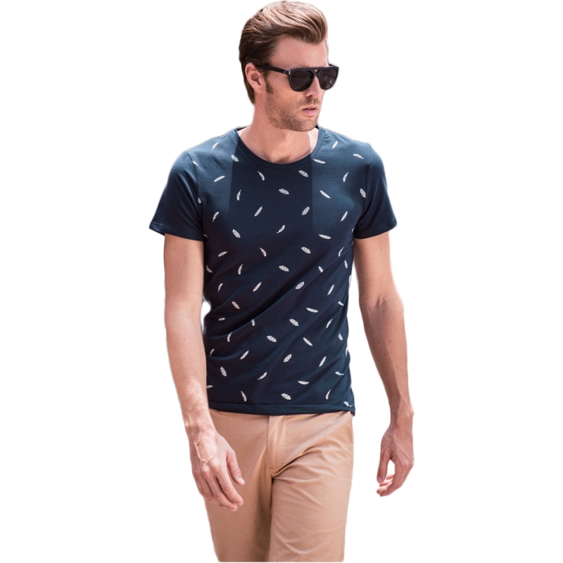 The jue Aaron summer men round collar individuality leisure coat t-shirts printed cotton trend mens t shirts fashion 2015 men