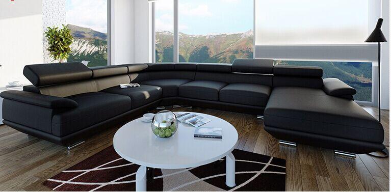 Modern royal white black u shape sofa dubai sofa furniture - Cojines para sofas de piel ...