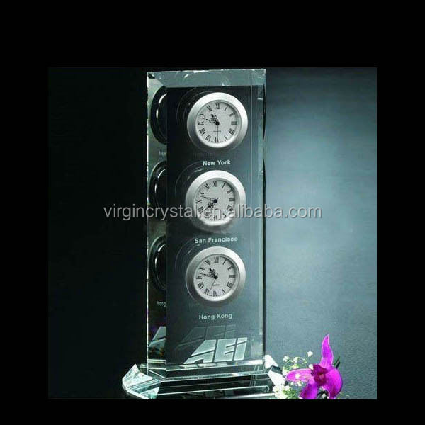 High quality crystal award trophy supplier crystal showpieces with clock