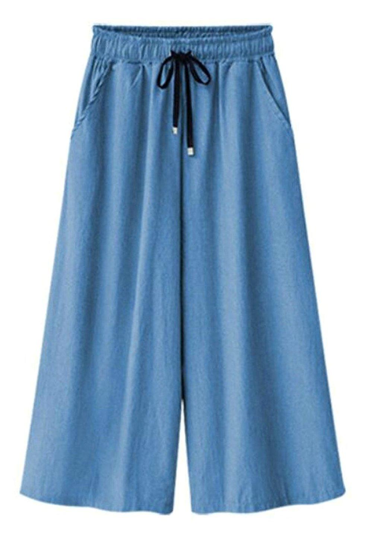 Macondoo Men Elastic Waist Summer Modal Shorts Loose Drawstring Pajama Pants