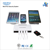 Retail open display security systems, security burglar alarm for mobile phone and tablet with 8 USB Port