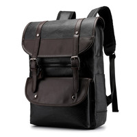 wholesale high quality trendy vintage men plain square laptop pu leather travel business leather back bag backpacks