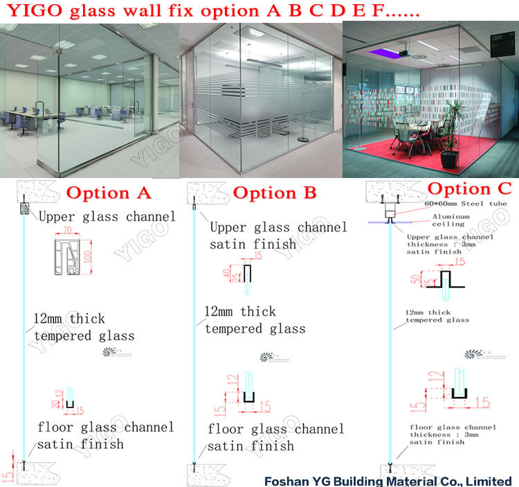 Hot sale modern office partition glass wall buy office for Thickness of glass wall for exterior