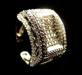White-Gold Cz Men's Ring