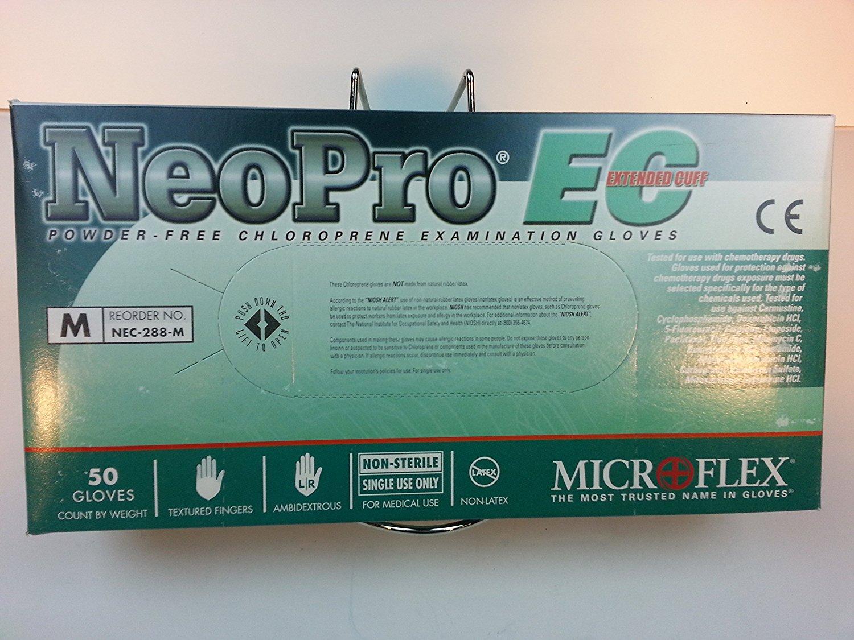 Microflex Neo Pro EC NEC-288 Green Medium Neoprene Powder Free Disposable General Purpose & Examination Gloves - Medical Grade - Rough Finish - 11.4 in Length - NEC-288-M [PRICE is per BOX]