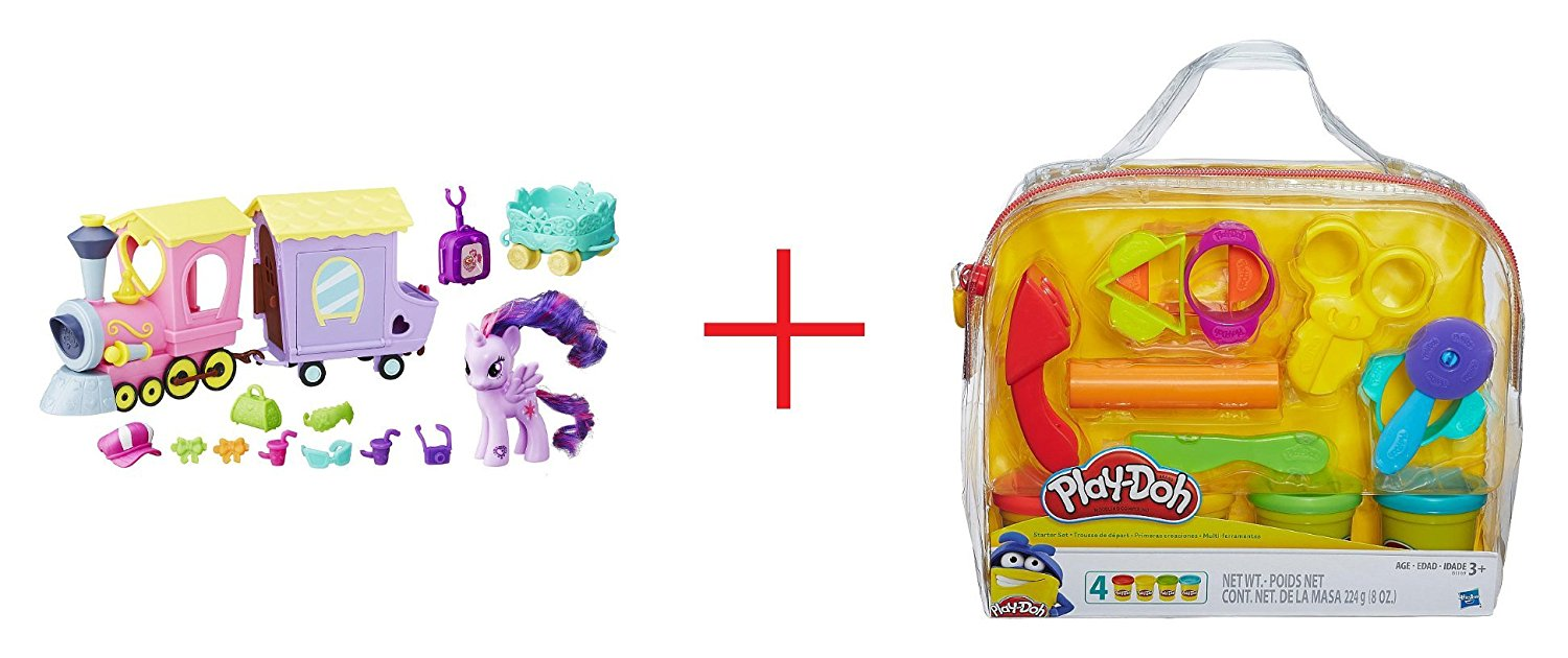 My Little Pony Friendship is Magic Explore Equestria Friendship Express Train Playset and Play-Doh Starter Set - Bundle