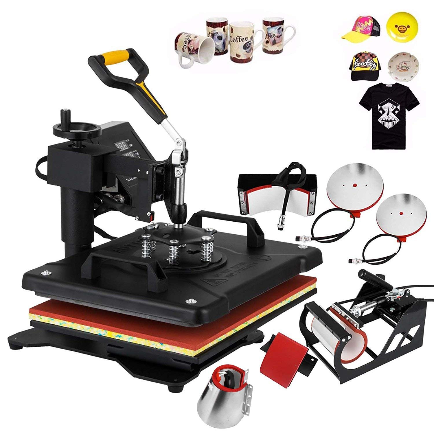 Mophorn Heat Press Machine 12x15 inch T-Shirt Heat Press Transfer Combo Swing-Away Presser Mug Hat Press 6IN1 Digital Multifunction Transfer (6in1 Presser)