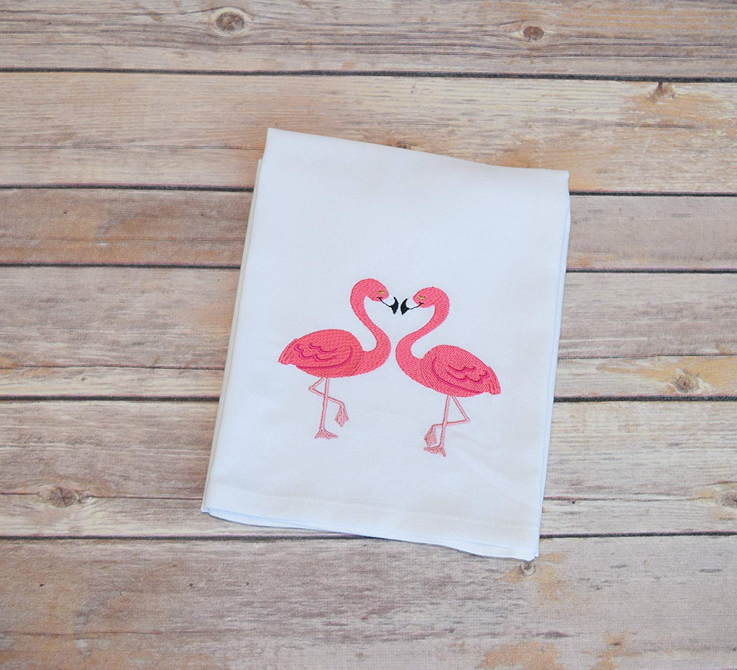 flamingo towe, Flour sack towels, flour sack dish towel white, flour sack tea towels, embroidered dish towel, hanging dish towel