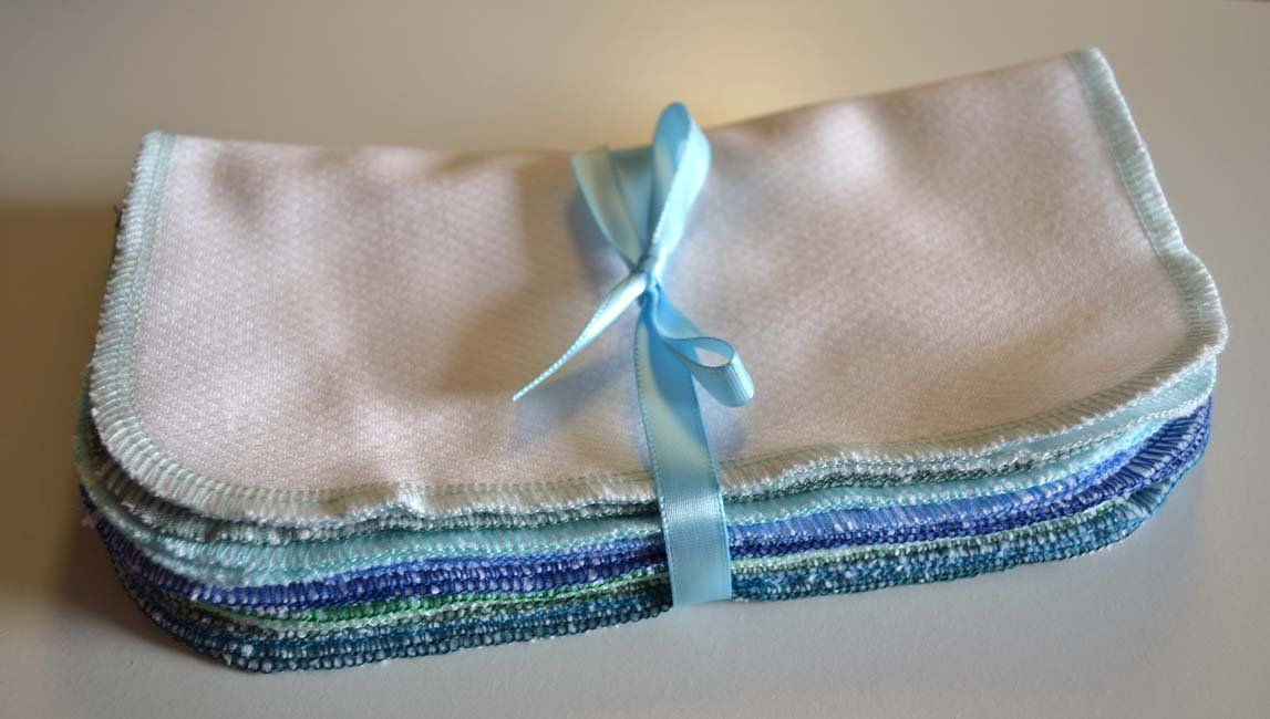 2 Ply Organic Flannel Washable Baby Wipes -10 Pack - Little Wipes (R) - GOTS Certified Flannel - Sewn with TurquioseThread