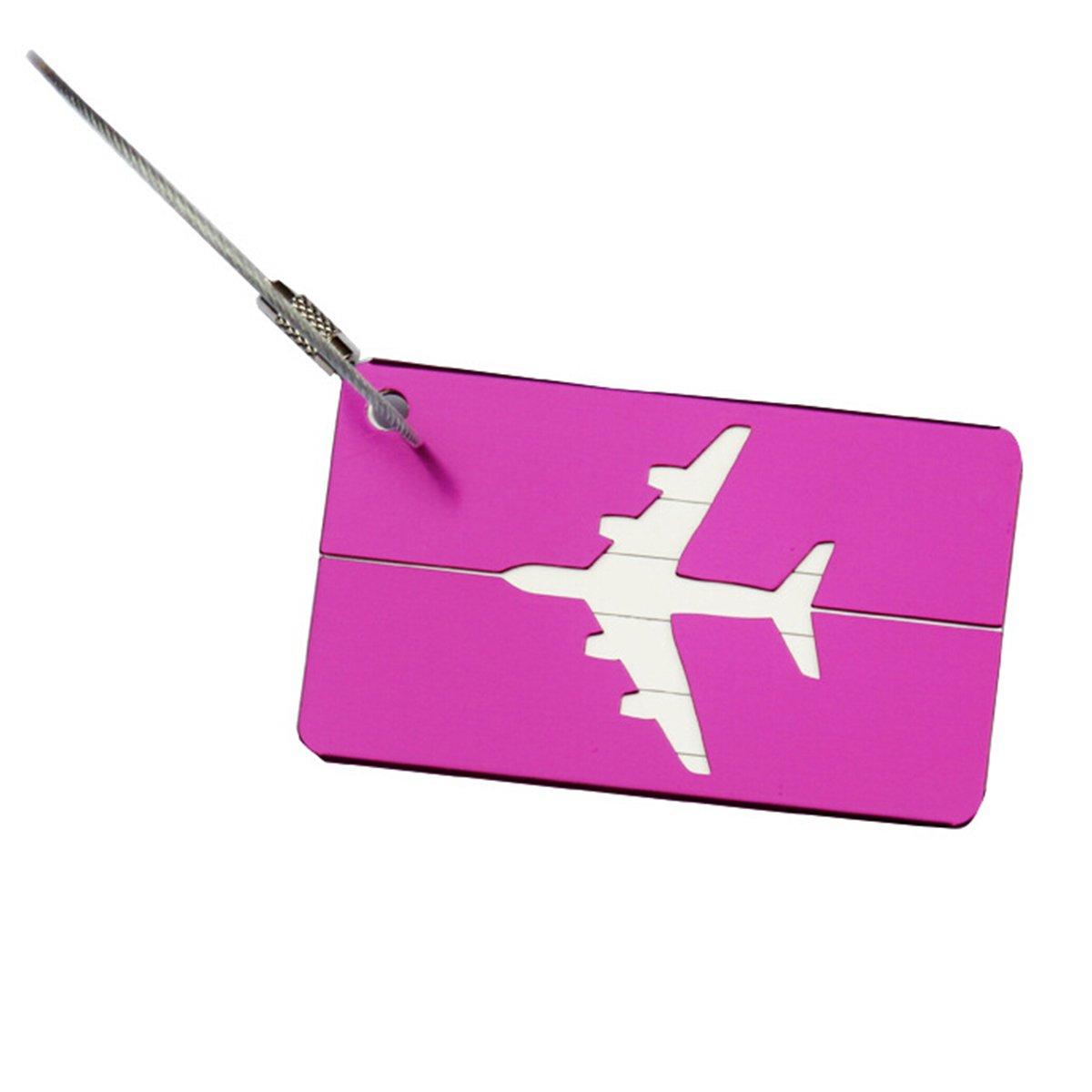 PIXNOR Luggage Tag with Key Ring Travel ID Bag Tag Key Tag (Purple)
