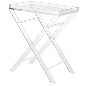 Gentil Acrylic Folding Tray Table, Serving Table, Plexiglass Food/Snack Tray Table
