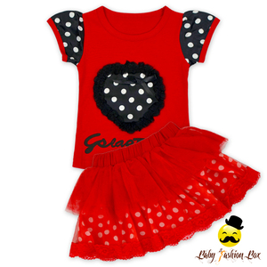 66TQZ442 Yihong Fashion Girls Embroidery Black dot Cap sleeve Red Clothing Sets Easter Boutique Outfits Baby Clothes Set