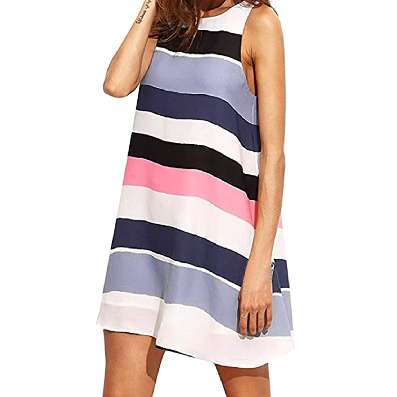 2018 New Women's Dress, E-Scenery Loose Pacthwor O-Neck Summer Sleeveless Tank Dresses