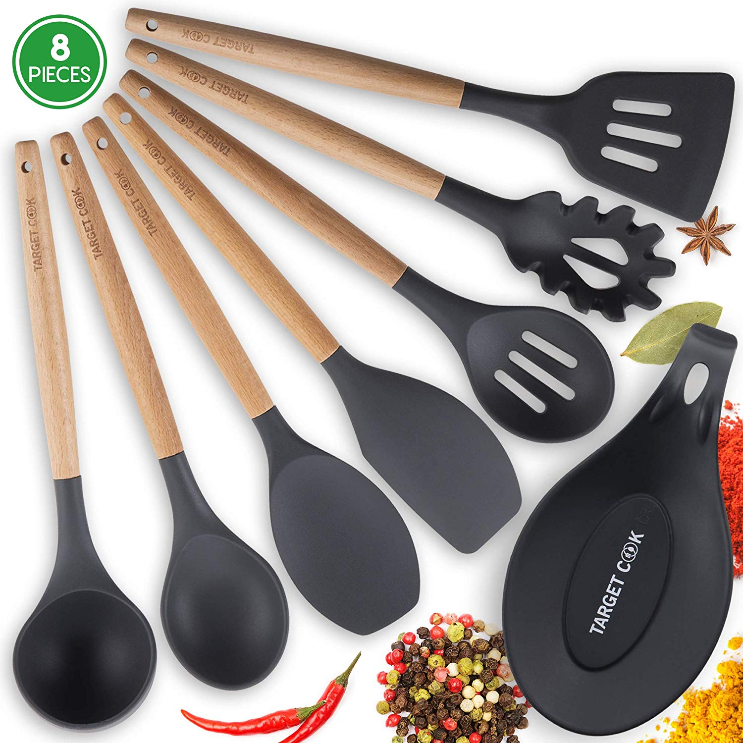 Kitchen Utensil Set - Silicone Cooking Utensils - Kitchen Utensils - Cooking Tools - Wooden Utensils - Wooden Handle Cooking Spoons